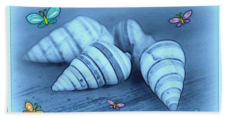 Shell Art Hand Towel featuring the photograph Blue Seashells by Linda Sannuti