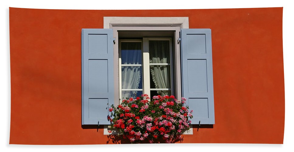 Red Bath Sheet featuring the photograph Blue Shutters by Tom Reynen