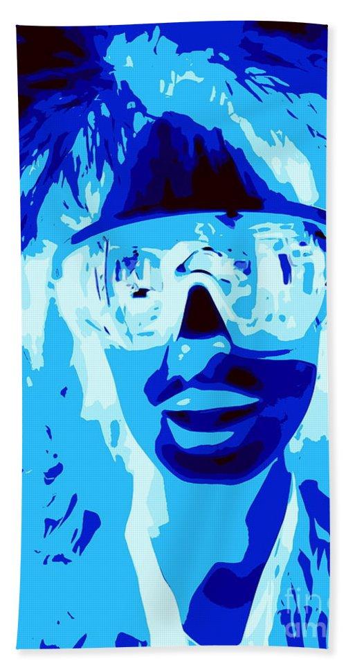 Digital Hand Towel featuring the digital art Blue Skier Bob by Ed Weidman