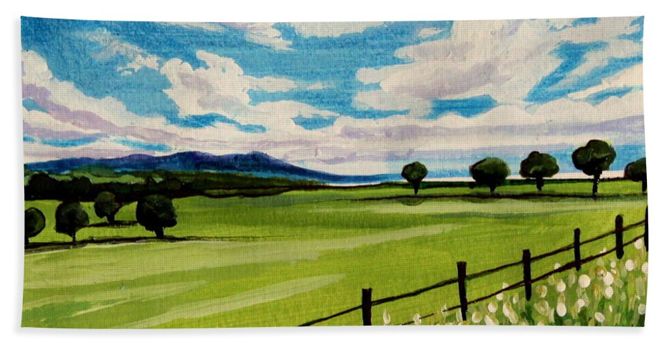 Landscape Bath Sheet featuring the painting Blue Skies by Elizabeth Robinette Tyndall