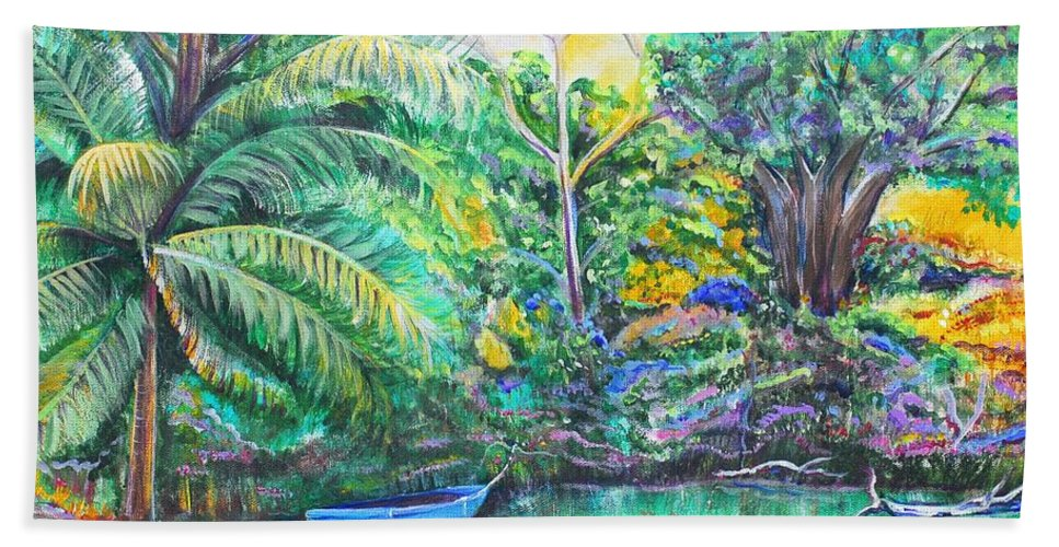 Lagoon Hand Towel featuring the painting Blue Skiff by Patricia Piffath