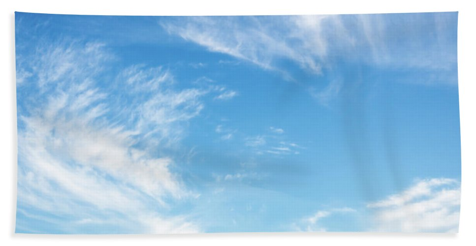 Abstract Hand Towel featuring the photograph Blue Sky And Clouds Abstract by Ismo Raisanen