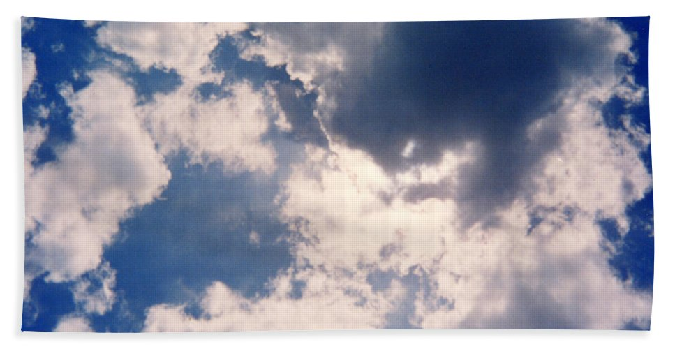 Blue Hand Towel featuring the photograph Blue Sky And Clouds by Cindy New