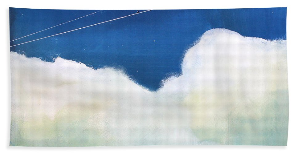 Sky Hand Towel featuring the painting Blue Sky Birds by Toni Grote