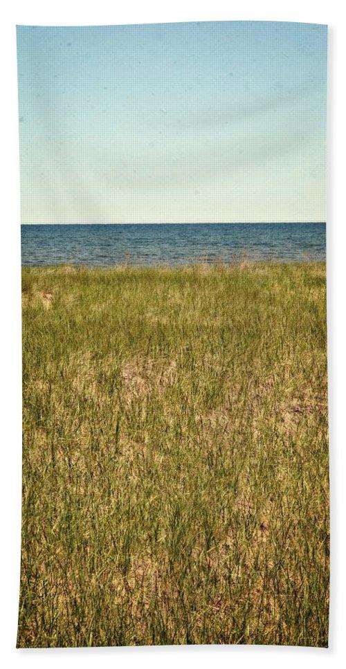 Lake Michigan Bath Sheet featuring the photograph Blue Sky Green Grass by Michelle Calkins