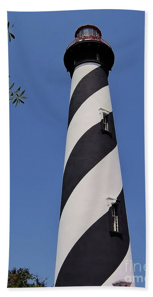 St Augustine Bath Sheet featuring the photograph Blue - Sky - Lighthouse by D Hackett