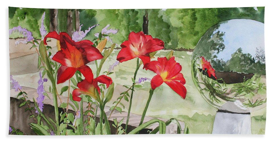 Flowers Bath Sheet featuring the painting Blue Sky Reflections by Jean Blackmer