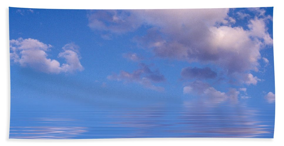 Original Art Hand Towel featuring the photograph Blue Sky Reflections by Jerry McElroy