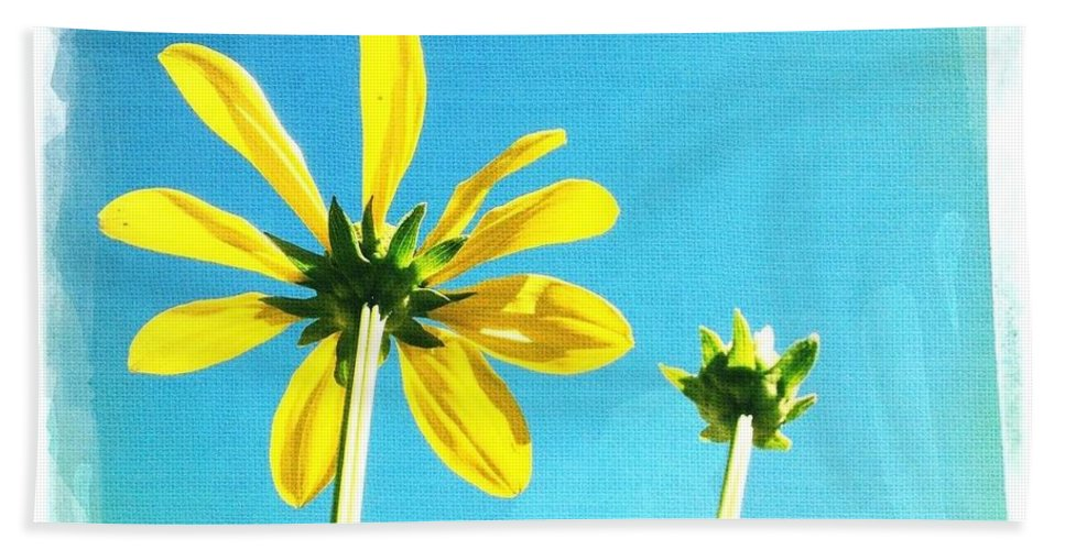 Daisy Bath Sheet featuring the digital art Blue Sky Sunny Daisy by Mo Barton