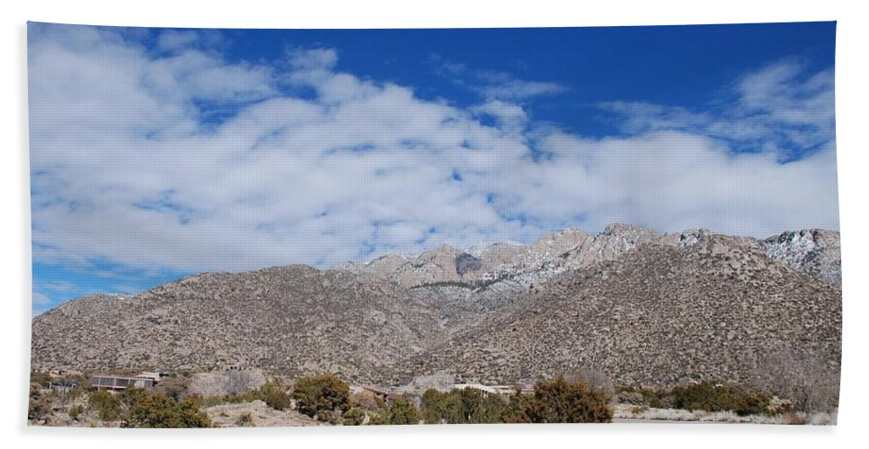 Sandia Mountains Hand Towel featuring the photograph Blue Skys Over The Sandias by Rob Hans
