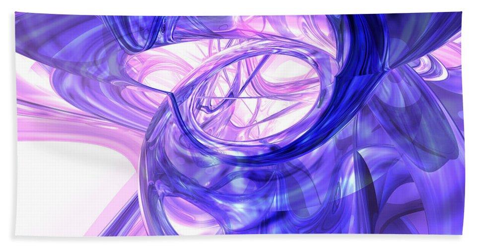 3d Bath Sheet featuring the digital art Blue Smoke Abstract by Alexander Butler