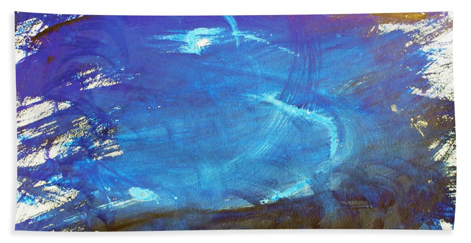 Abstract Bath Sheet featuring the painting Blue Space Water by Lee Serenethos