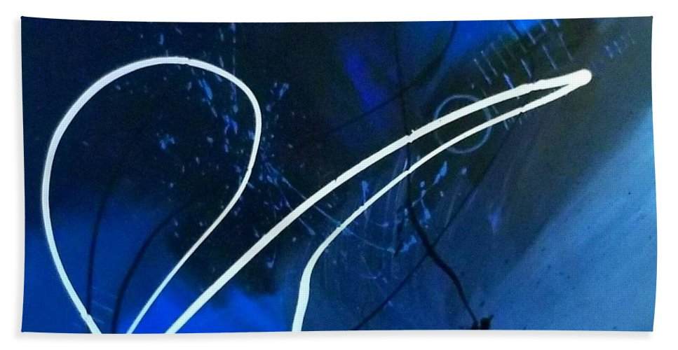 Blue And Black Abstract Art Bath Sheet featuring the painting Blue Speed by Keeops