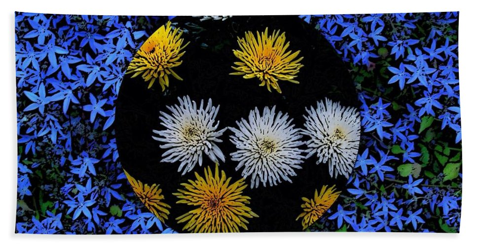 Blue Star Flowers Hand Towel featuring the photograph Blue Star Universe by Joan-Violet Stretch