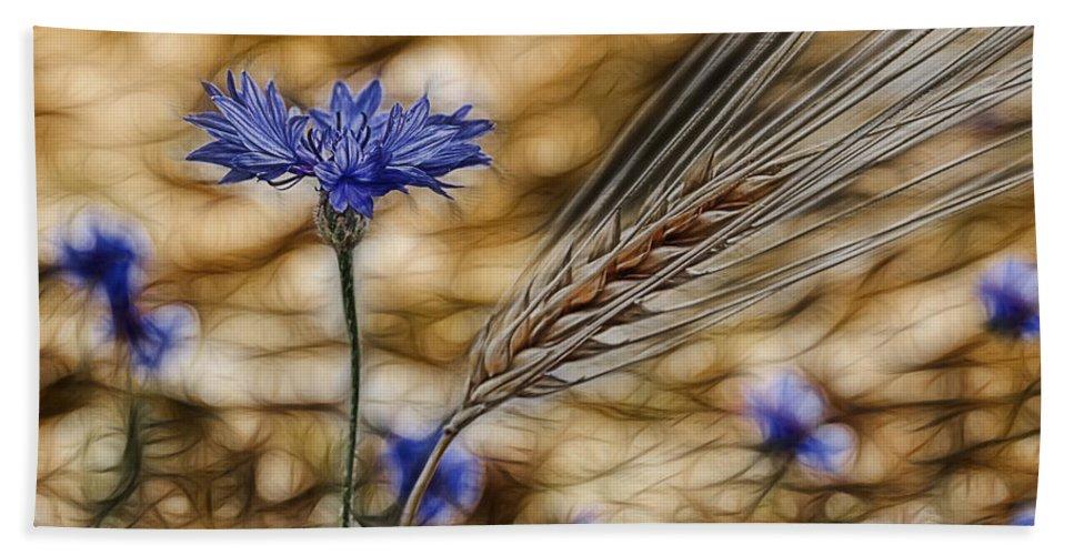 Cornfield Bath Towel featuring the photograph Blue Stars by Joachim G Pinkawa