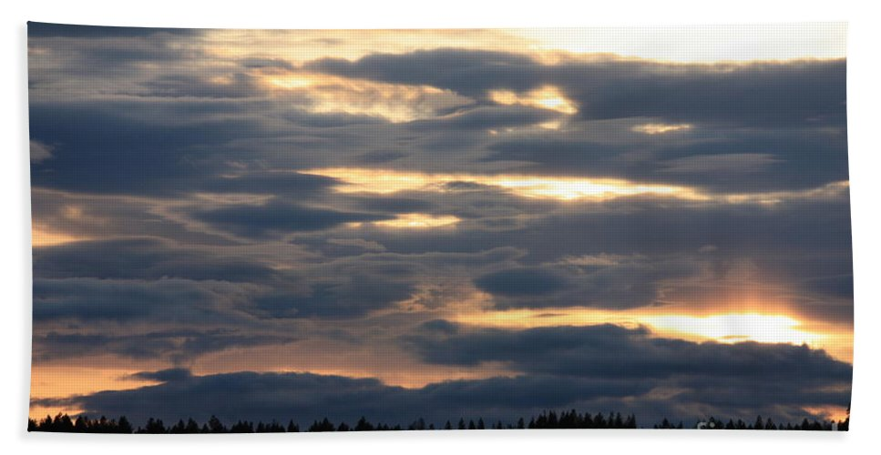 Clouds Hand Towel featuring the photograph Blue Sunset by Carol Groenen