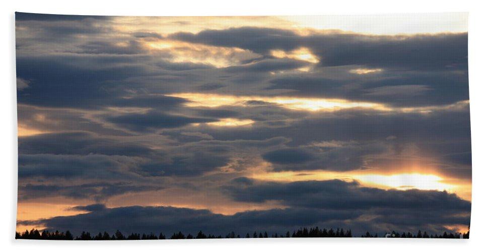 Clouds Bath Sheet featuring the photograph Blue Sunset by Carol Groenen
