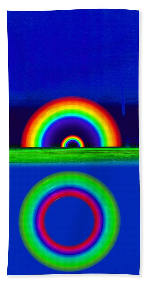 Rainbow Hand Towel featuring the painting Blue Sunset by Charles Stuart