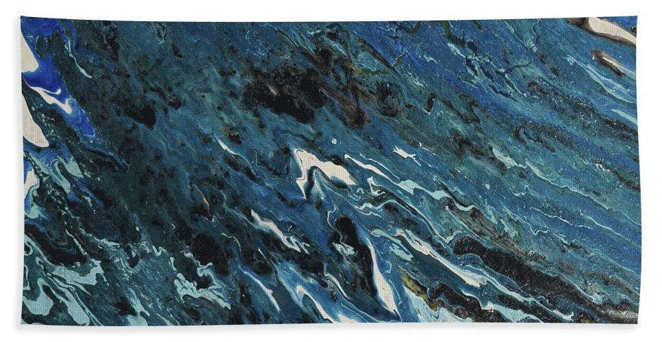 Green Bath Sheet featuring the painting Blue Surf by Deborah Christensen