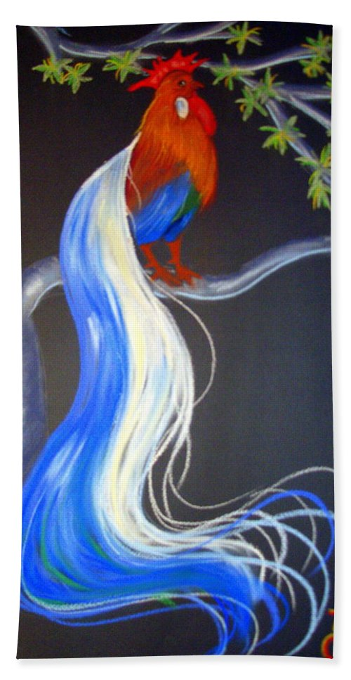 Bird Hand Towel featuring the pastel Blue Tail Fantasy by Jo Hoden