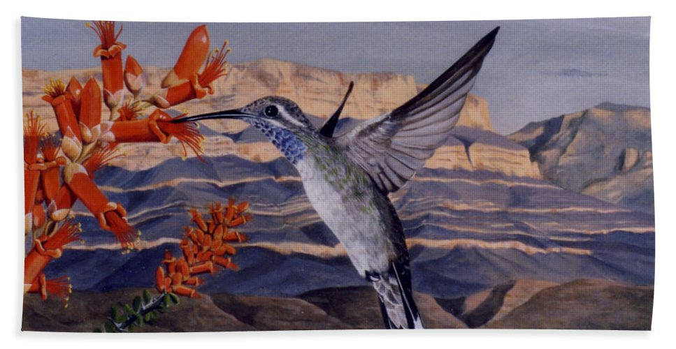 Hyperrealism Hand Towel featuring the painting Blue Throated Hummingbird by Michael Earney