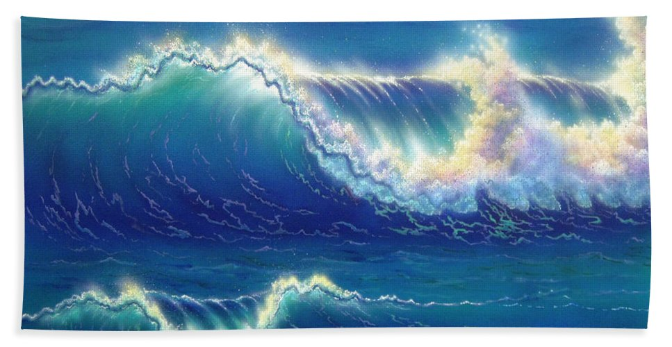 Seascape Bath Sheet featuring the painting Blue Thunder by Angie Hamlin