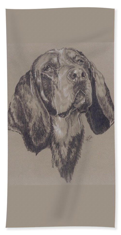 Purebred Hand Towel featuring the drawing Blue Tick Coonhound by Barbara Keith