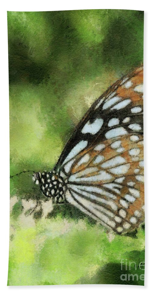 Butterfly Hand Towel featuring the photograph Blue Tiger by Lois Bryan