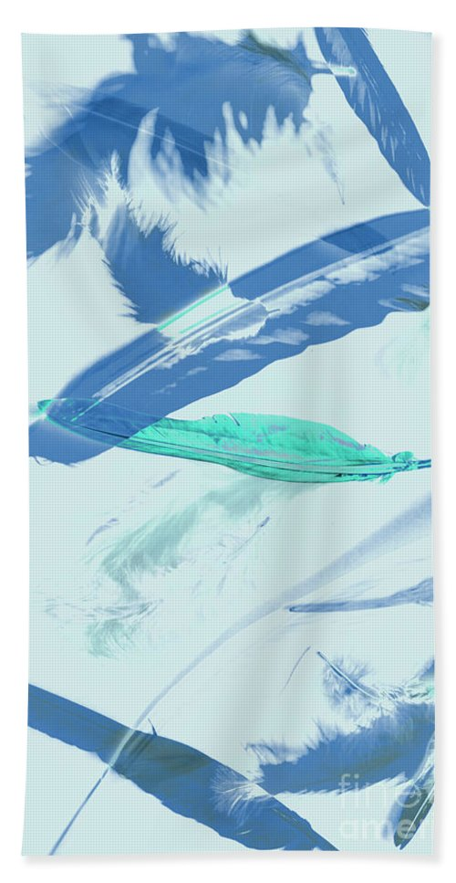 Abstract Bath Towel featuring the photograph Blue Toned Artistic Feather Abstract by Jorgo Photography - Wall Art Gallery