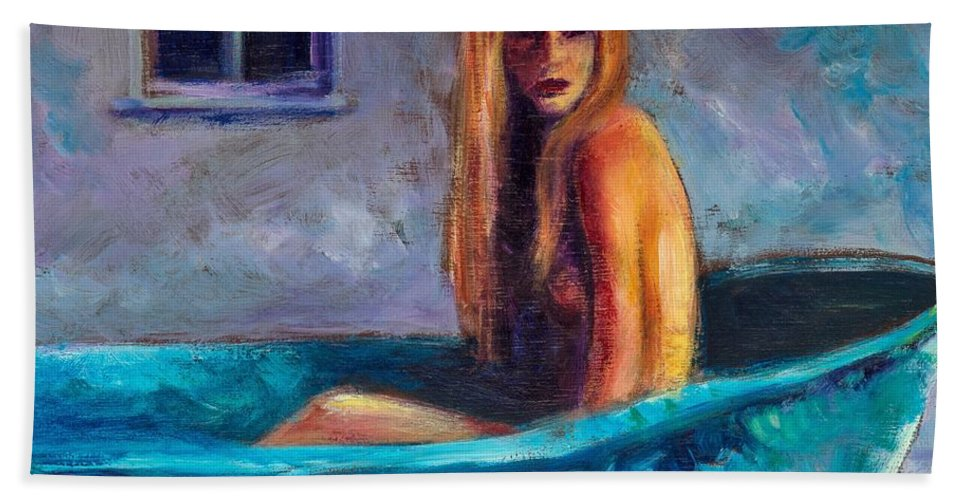 Nude Hand Towel featuring the painting Blue Tub Study by Jason Reinhardt