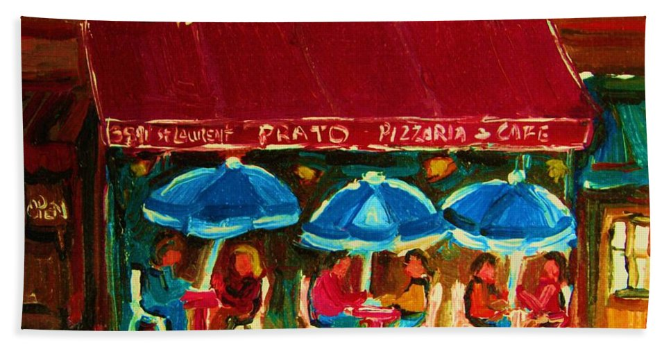 Cafes Hand Towel featuring the painting Blue Umbrellas by Carole Spandau