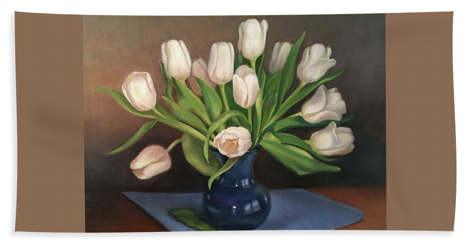 White Tulips Hand Towel featuring the painting Blue Vase, White Tulips by Rosanne Wolfe