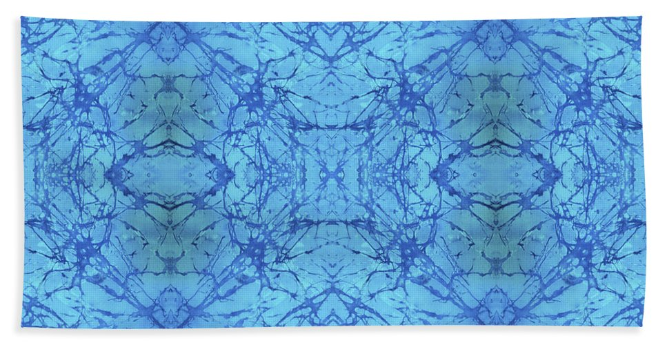 Blue Bath Sheet featuring the painting Blue Water Batik Tiled by Sue Duda