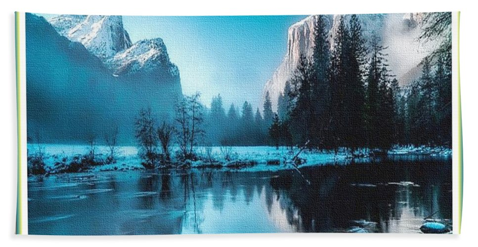 Rural Bath Towel featuring the painting Blue Winter Fantasy. L B With Decorative Ornate Printed Frame. by Gert J Rheeders