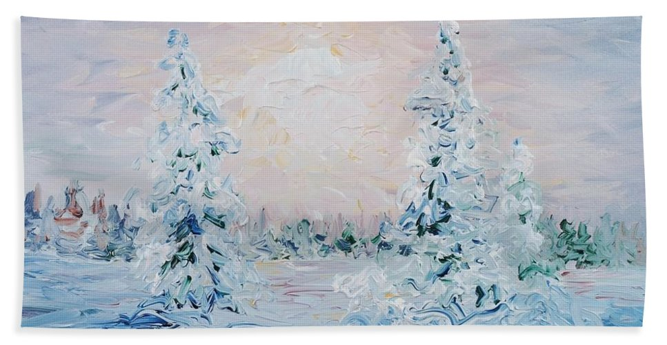 Landscape Bath Towel featuring the painting Blue Winter by Nadine Rippelmeyer