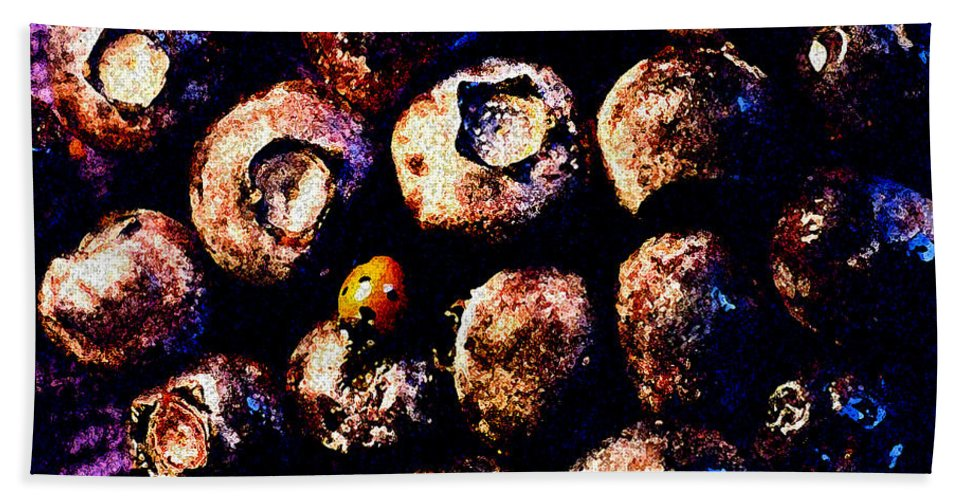 Blueberries Bath Sheet featuring the photograph Blueberries And Ladybug by Nancy Mueller