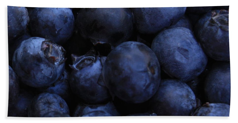 Blueberries Bath Sheet featuring the photograph Blueberries Close-up - Horizontal by Carol Groenen
