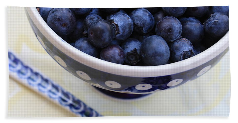 Food Bath Towel featuring the photograph Blueberries In Polish Pottery Bowl by Carol Groenen