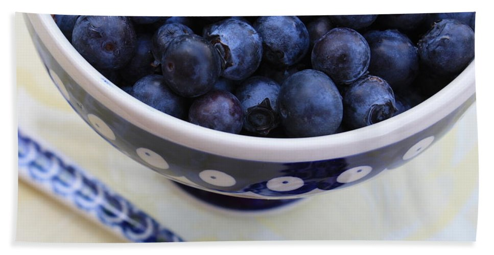 Food Bath Towel featuring the photograph Blueberries With Spoon by Carol Groenen