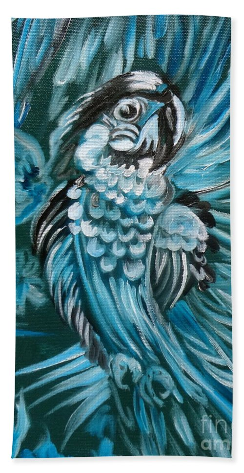 Bird Hand Towel featuring the painting Bluebird Of Happiness Jenny Lee Discount by Jenny Lee