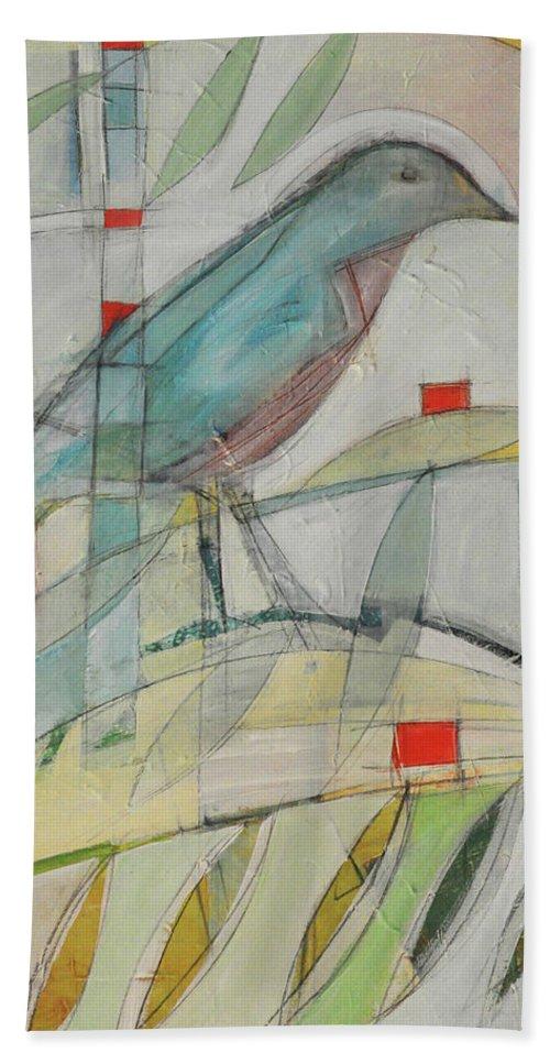Bluebird Bath Sheet featuring the painting Bluebird Of by Tim Nyberg