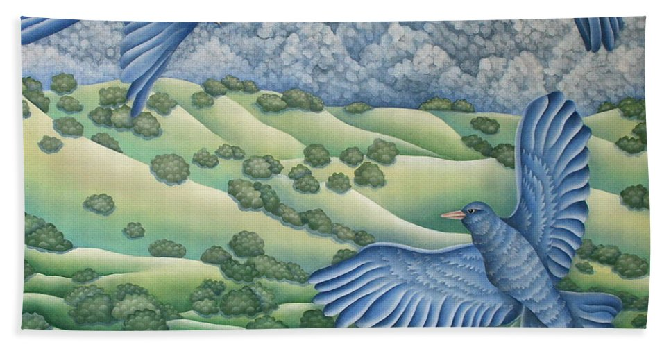Hand Towel featuring the painting Bluebirds Of Happiness by Jeniffer Stapher-Thomas
