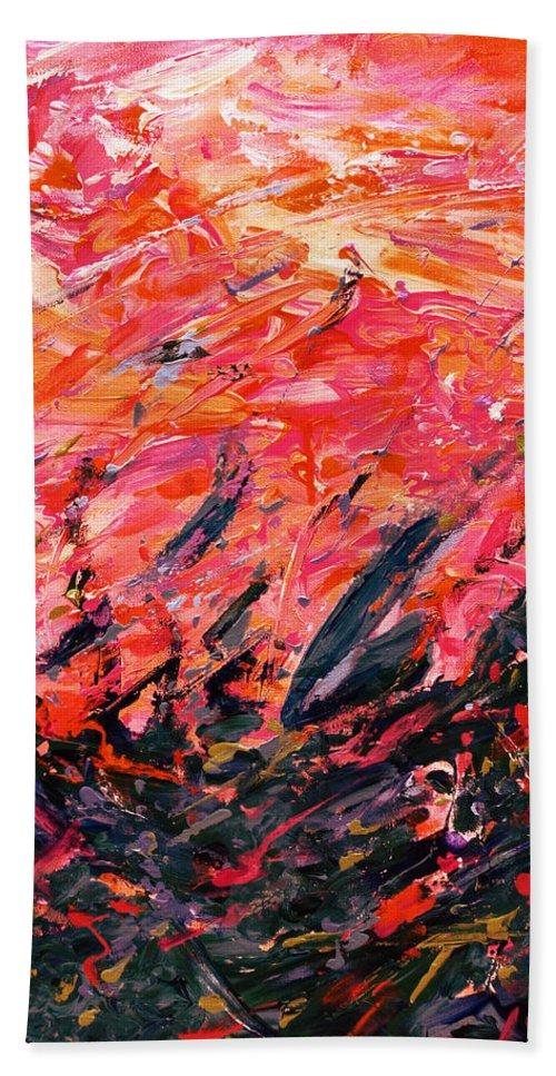 Bluegrass Hand Towel featuring the digital art Bluegrass Sunrise - Crimson B-right by Julie Turner