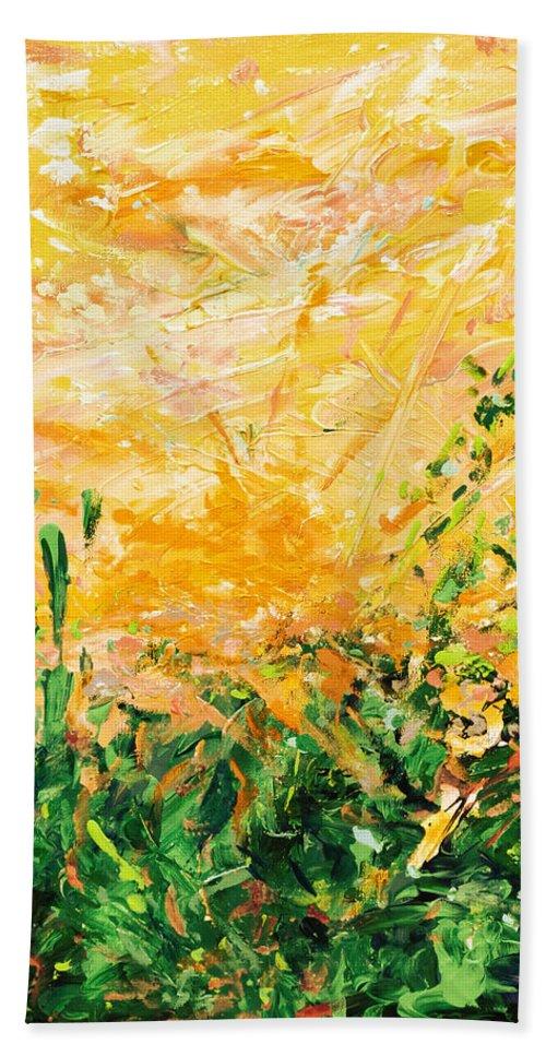 Bluegrass Hand Towel featuring the digital art Bluegrass Sunrise - Lemon A-left by Julie Turner