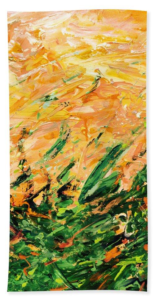 Bluegrass Bath Sheet featuring the digital art Bluegrass Sunrise - Lemon B-right by Julie Turner