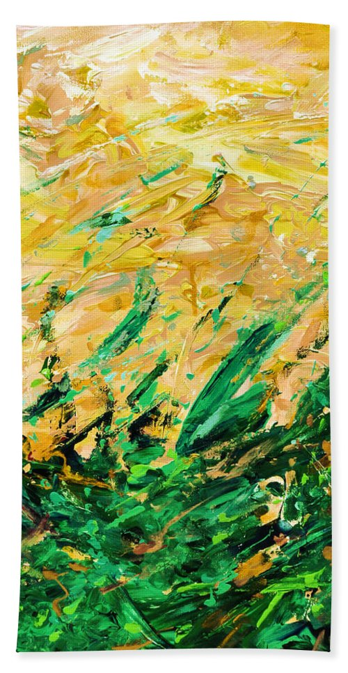 Hand Towel featuring the digital art Bluegrass Sunrise - Olive B-right by Julie Turner