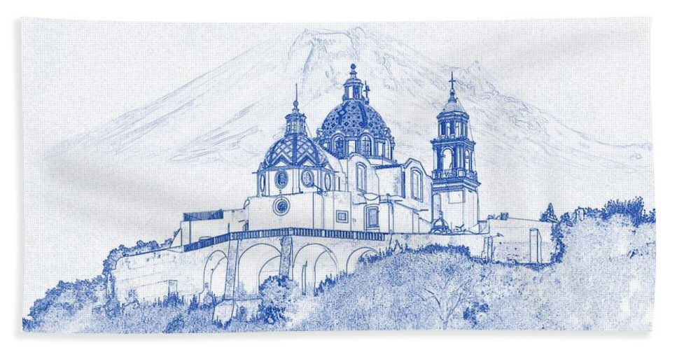 Blueprint drawing of ancient architecture building church daylight blueprint drawing of ancient architecture building church daylight hill bath towel featuring the painting blueprint drawing malvernweather Gallery