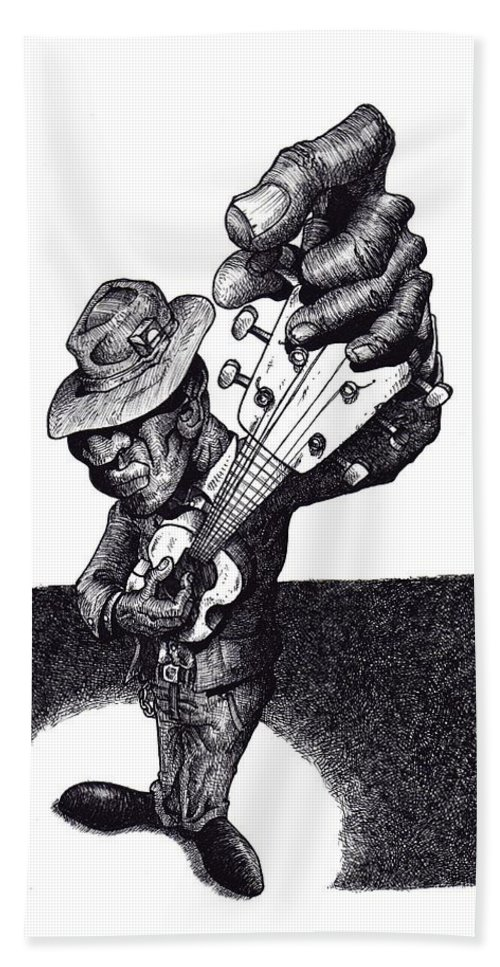 Blues Hand Towel featuring the drawing Blues Guitar by Tobey Anderson