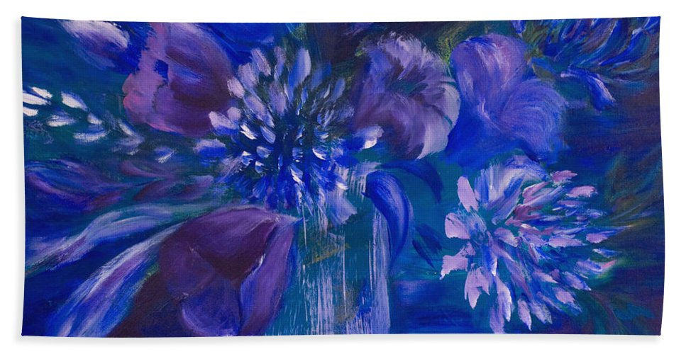 Tulips Hand Towel featuring the painting Blues To Brighten Your Day by Joanne Smoley