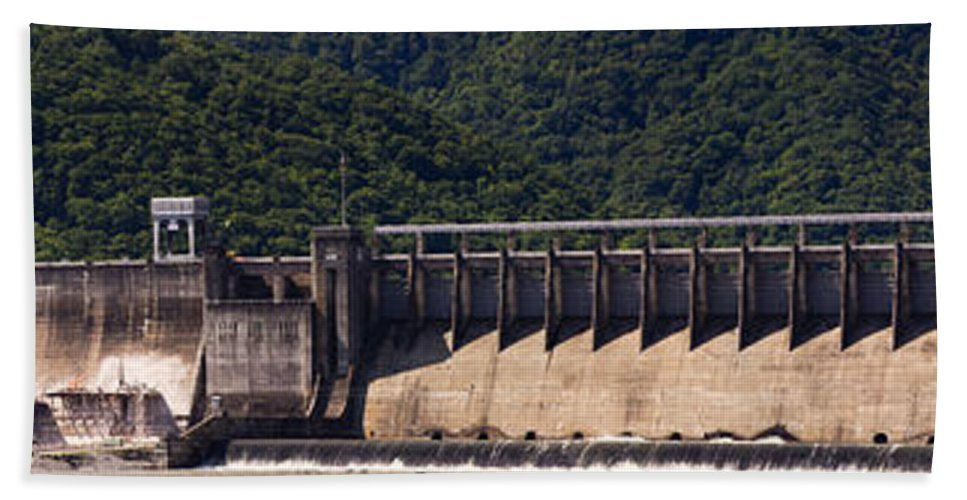 Bluestone Bath Towel featuring the photograph Bluestone West Virginia Dam Panorama by Teresa Mucha